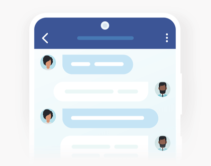 Chat text in Android chat app